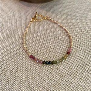"""Jewelry - """"Watermelon"""" Tourmaline Gem & Gold-Filled Bracelet"""